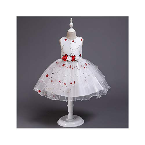 Summer Sleeveless Printing Gauze Flower Stage Performance Birthday Party Baby Tutu Dress,red,4T ()