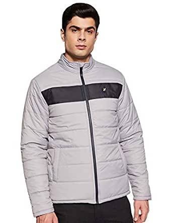 Amazon Brand - House & Shields Men's Quilted Jacket (AW19-HSJ-06_Grey&Navy_S)