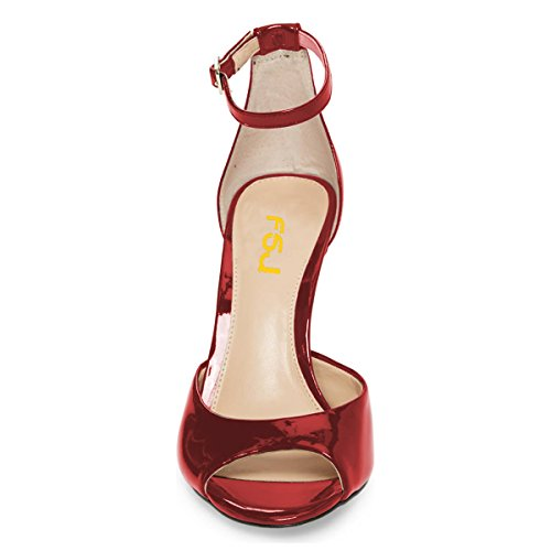 Peep Fashion Pumps 15 Toe High US Wine 4 Heels Size D'Orsay Women FSJ Ankle Shoes Sandals Stiletto Strap Red 4WZ8wZq5z