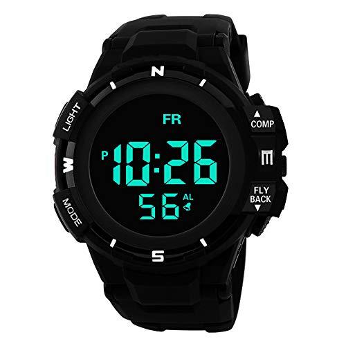 Sport Watch, 50M Waterproof Watch, Sport Wrist Watch for Men Women Kids, Digital Watch with Alarm Date and Time (Black)