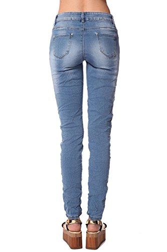 Q2 Women's enge Skinny-Jeans aus Crinklestoff mit hohem Bund