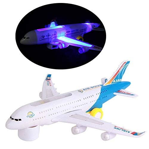 bromrefulgenc Cool Airplane for Boys,A380 Airbus Model Electric Flashing Lights Musical Sounds Airplane Assemble Toy Gift