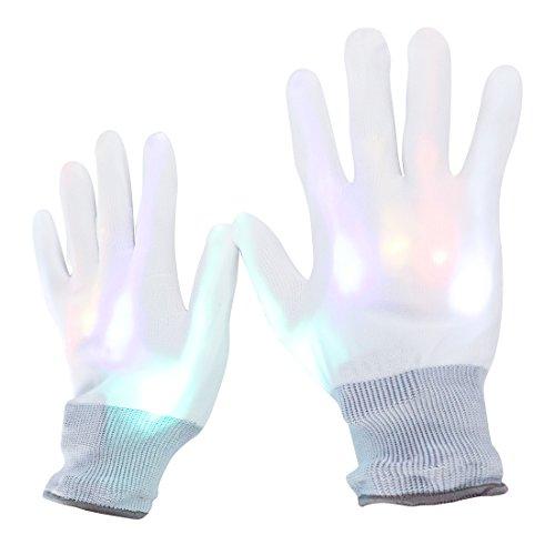 LED Skeleton Gloves, DAXIN DX White Finger Light Gloves - Glow Rave Flashing Gloves Toys Kids Adults - for Music Festival/ Halloween/ Christmas Gift/ EDM/ Performance