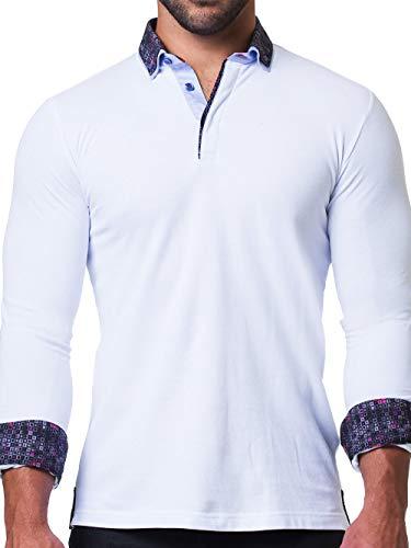 Maceoo Mens Designer Polo - Stylish & Trendy Sport Shirts - Newton White Breakthrough - Tailored -