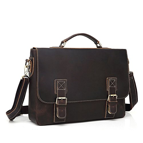 Messenger Dark Retro Simple Briefcase Bag Color Shopping Computer Comfortable Bag Bag Zipper Brown Shoulder Leather z7qAwxZW5
