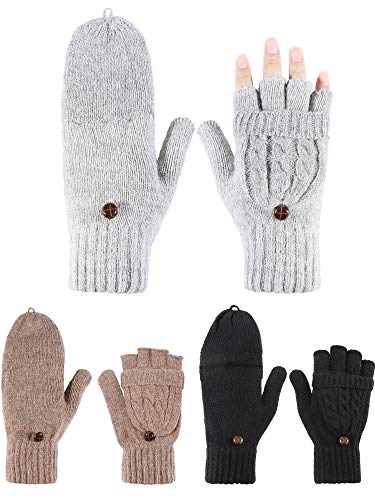 Blulu 3 Pairs Women Half Finger Mitten with Cover Knitted Convertible Gloves (Color Set 2)