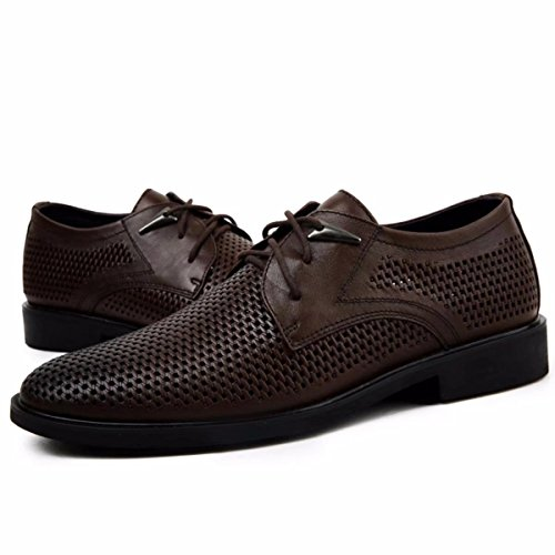 - Men's Hollow Out Breathable Regan Oxford Full Brogue Brodie Soft Leather Shoes in Goodyear Welted Construction for Men(Dark-Brown,CN43)