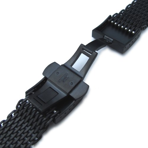 20mm Ploprof 316 SS Wire ''SHARK'' Mesh Milanese Watch Band, Dome Deployant, Black, BB by 20mm Mesh Band (Image #3)