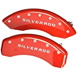 MGP Caliper Covers 14005SSILRD 'SILVERADO' Engraved Caliper Cover with Red Powder Coat Finish and Silver Characters, (Set of 4)