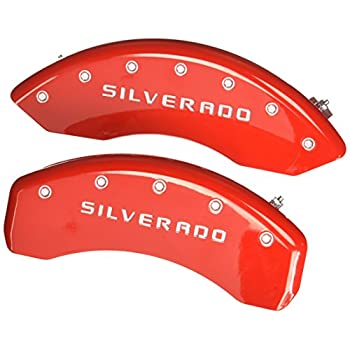 Image of MGP Caliper Covers 14005SSILRD Caliper Cover (Red Powder Coat Finish, Engraved Front and Rear: Silverado, Silver Characters, Set of 4) Calipers