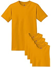 Hanes Comfort Soft Crew Neck Tee (Pack of 5), Gold, Large