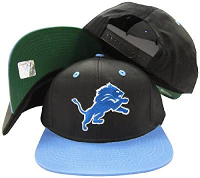 Detroit Lions Black/Blue Two Tone Plastic Snapback Adjustable Snap Back Hat / Cap
