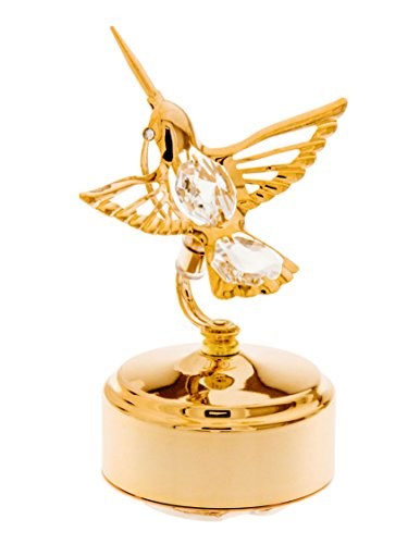 Hummingbird 24k Gold-Plated Swarovski Crystal Rotating Musical Figurine