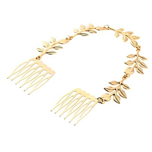 SODIAL(R) Vintage Alloy Gold Leaf Hair 2 Comb Pin Bridesmaid Tiara Chic 220x23mm