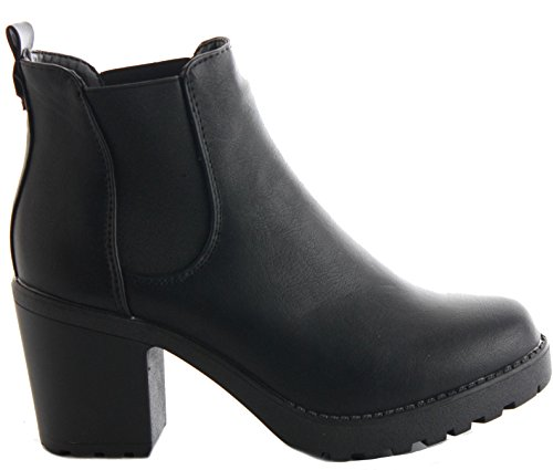 SIZE Leather PLATFORM WINTER 3 Style Faux BOOTIES LADIES 8 HEELED Black BOOTS BLOCK WOMENS HIGH HEEL MID CHELSEA ANKLE E wzx87SH