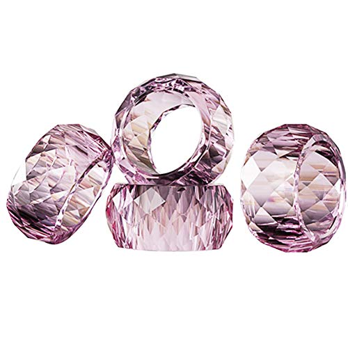 DONOUCLS Crystal Napkin Ring Holders Pink 2 Inch,Table Party Wedding Set Christmas Decorations for Dinner Set of 12