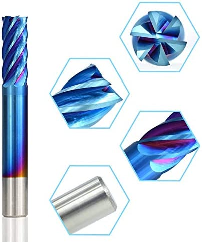 without LF-wujin, 1pc Diameter 6-12mm 6 Flute Spiral End Mill Super Nano Blue Coated CNC Router Bit HRC 55 Tungsten Carbide End Milling Cutter (Size : D12x30x75L)