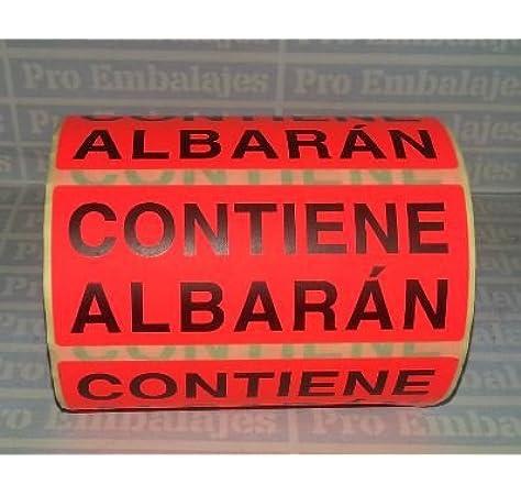 200 etiquetas 100 x 50 Rollo etiquetas rojas con textoCONTIENE ALBARAN APLI 295