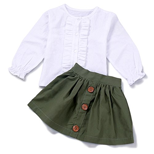 Long Sleeve Ruffle Top Blouse Skirt Blouse Skirt Set Green,100 ()