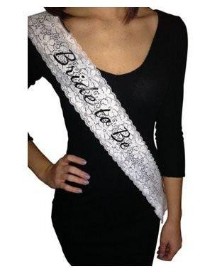 Haute Soiree Sophisticated White Lace Bride to Be Sash - Perfect for Bachelorette Parties and Bridal Showers]()