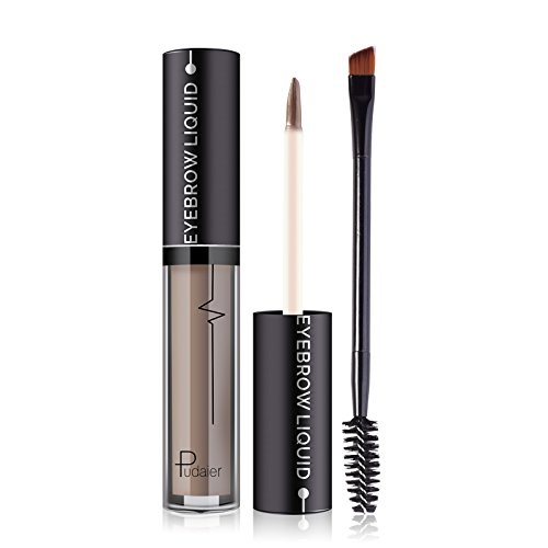 Pudaier Professional Eye Brow Brand Cosmetics Long Lasting Pigments Black Brown Waterproof Eyebrow Liquid Makeup with Brush (01)