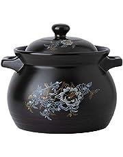 Large Ceramic Cookware with Lid and Double Handle 7.8L Ceramic Casserole Earthen Pot Tureen Soup Clay Pot for Open fire Stew Soup Pot BBJOZ Fish Poachers