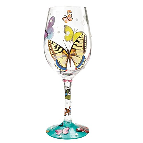 "Designs by Lolita ""Butterflies"" Hand-painted Artisan Wine Glass, 15 oz."