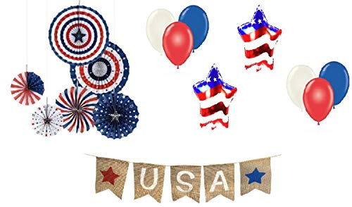 4th of July Decorations Kit - Patriotic Party Hanging Paper Fans - Fourth of July Balloons Banner - Military Homecoming Veterans Memorial Day - Political Rally Armed Forces Bundle by Jolly Jon ®]()