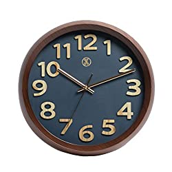 A.Cerco x JustNile 12 Dark Brown Plastic Wood Grain Design Frame Precise Non-ticking Sweep Movement Wall Clock, Navy Blue Face Rose Gold Hands, Modern Decor for Bedroom Living Room Kitchen Office