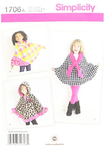 Fleece Tie Scarf (Simplicity 1706 Child's Fleece Capes Sewing Pattern, Size A (S-M-L))