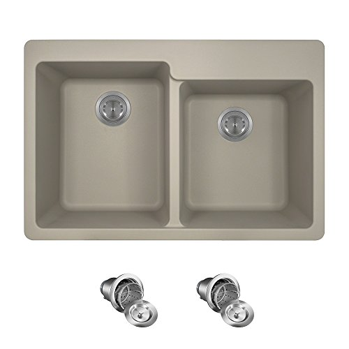T801 Topmount Double Offset Bowl Kitchen Sink, Slate, Basket Strainers