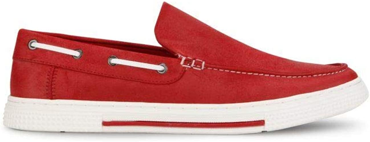 Kenneth Cole REACTION Men's Ankir Slip On B Boat Shoe, Red Smooth, 9.5 M US