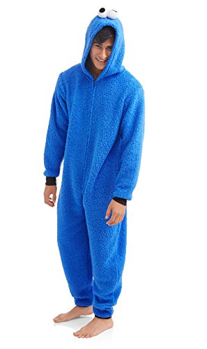 Sesame Street Cookie Monster Men's Onesie Union Suit (Small, Blue) -
