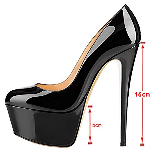 Pump Platform Fancnv Black MERUMOTE Stiletto Women's Solid Heels Color w0wqzf