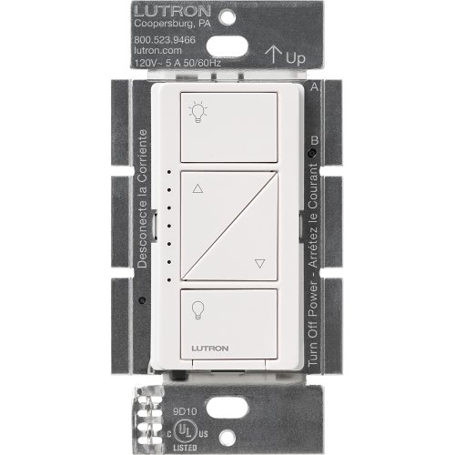 Lutron Caseta Wireless Smart Lighting Dimmer Switch for Wall & Ceiling Lights, PD-6WCL-WH, White, Works with Alexa, Apple HomeKit, and the Google Assistant ()