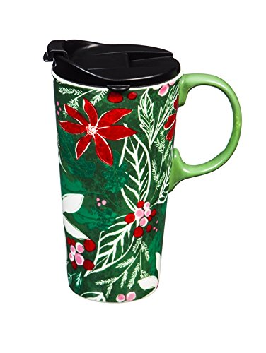Cypress Home Green Holly Ceramic Travel Mug with Gift Box, 17 ounces