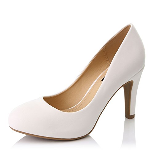 (DailyShoes Women's Comfortable Cushioned Slip On Low Heels Round Toe Dress Pumps Shoes, White PU Leather, 7.5 B(M) US)