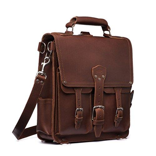 Saddleback Leather Front Pocket Messenger Bag - 100% Full Grain Leather Backpack Bag with 100 Year Warranty (Large Messenger Bag Tenba)