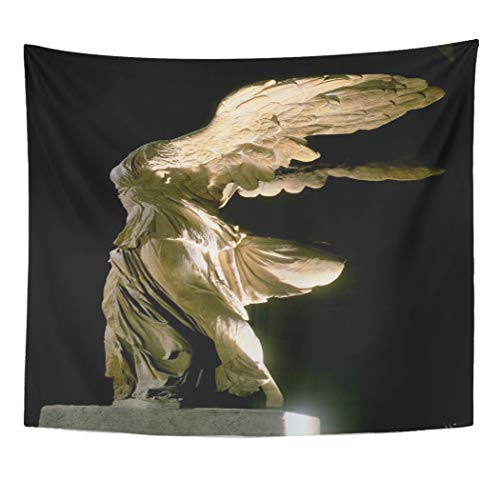 Semtomn Tapestry Artwork Wall Hanging Fine Side View of Victory Samothrace Parian Mar Sculpture 50x60 Inches Home Decor Tapestries Mattress Tablecloth Curtain Print]()