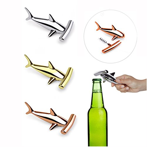One Chrome Corkscrew - Umbra Hammered Head Shark Bottle Opener and Corkscrew 2-in-1, Assorted Colors