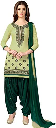 Nivah Fashion Women's Patiala Cotton Embroidery Dress Material