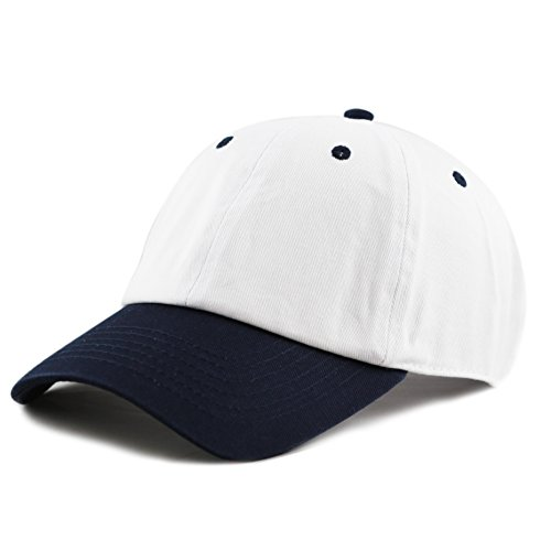 (The Hat Depot Unisex Blank Washed Low Profile Cotton and Denim Baseball Cap Hat (White/Navy))