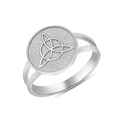 Sterling Silver Split Shank Band Irish Infinity Circle Celtic Trinity Knot Disc Ring (Size 12) ()