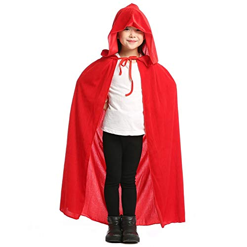 Aricy Hooded Velvet Cloak Cape Halloween Role Play Cosplay Costume for Kids A005RL Red