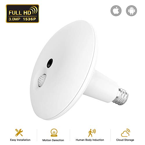 - JUKEY Light Bulb Camera 1536P Camera PIR Body Sensing Motion Detection Night Vision 360 VR Panoramic Security Camera V2.0 Smart LED Flood Light, APP for Android iOS