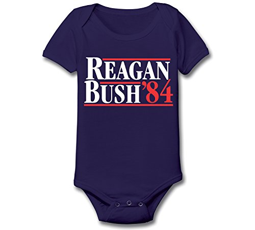 Reagan Bush 84 Funny Election Politics President Race Retro 80s 90s Republican Humor Infant Baby One Piece 12 Months Navy by Funny Threads Outlet