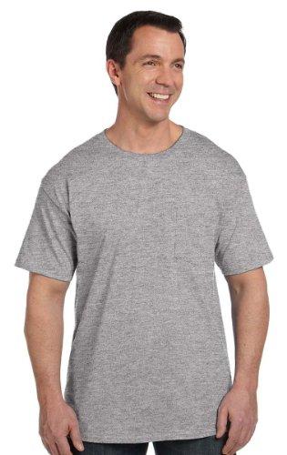 Ringspun Sleeveless T-shirt (Hanes Short Sleeve Beefy Pocket T-Shirt - 5190, Light Steel, M US (Chest 38-40))