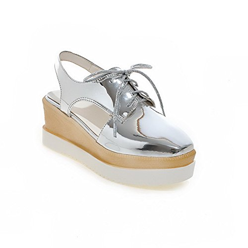 Sandals Closed Silver Kitten Lace Toe Women's PU up AgooLar Round Solid Heels xPRn7qIAI