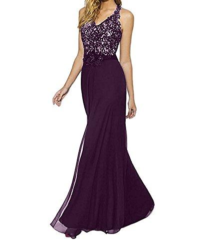 Elegant Bodenlang Braut La Traube Neckholder mia Spitze Partykleider Abendkleider Etuikleider Brautmutterkleider Blau Festlichkleider RFxwETxq