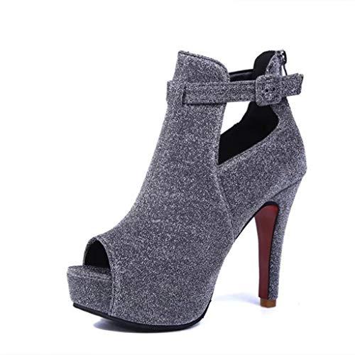 Fashion ouvert Amuster sexy avec bout ouvert à bout noire pour Sandales et section femmes wxqOtBxEp